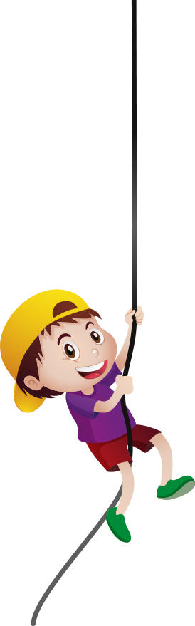 boy with cap holding a rope
